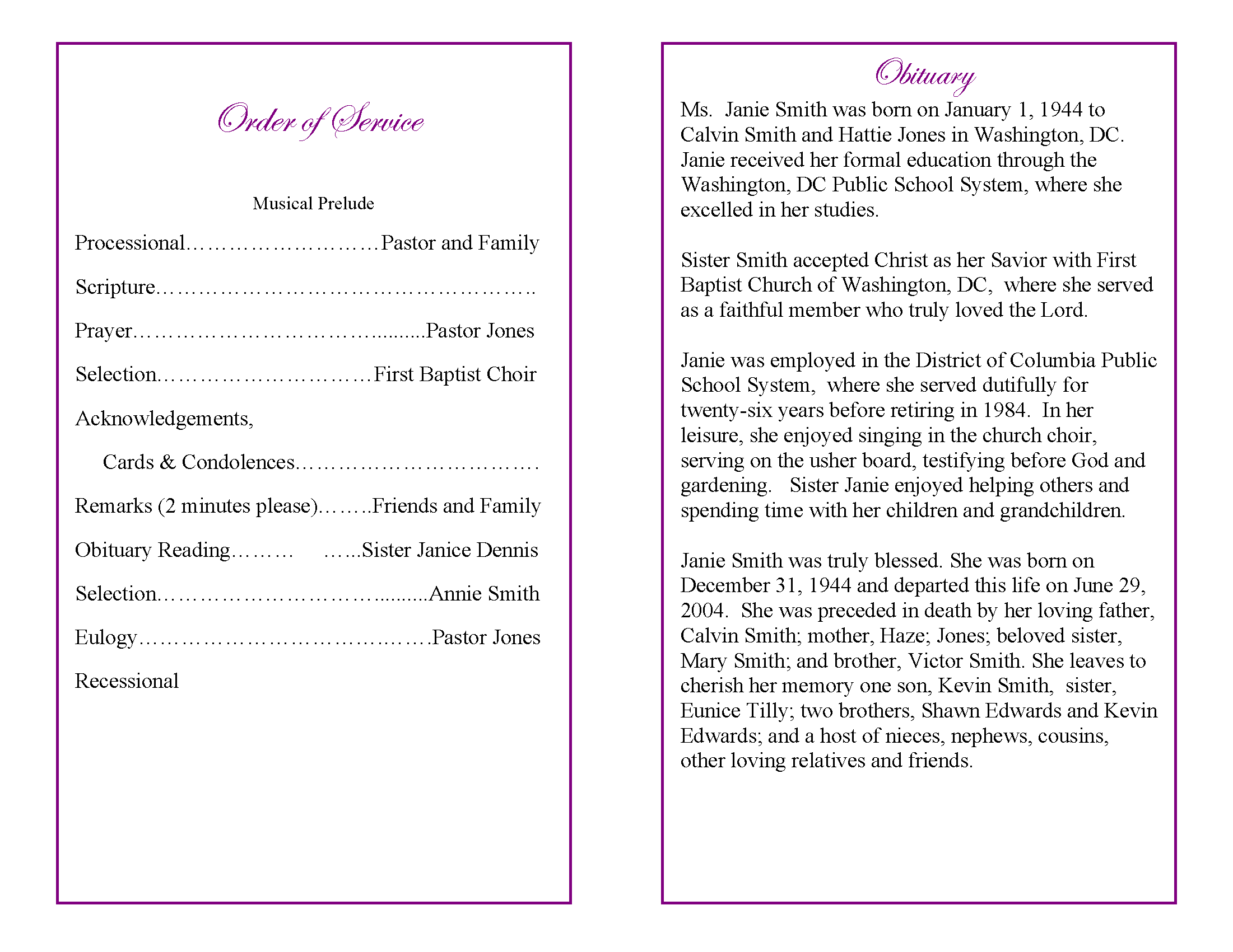 funeral program obituary template